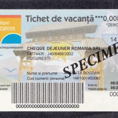 Bon Tichet de vacanta SPECIMEN Cheque dejeuner UNC