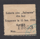 Bilet loto 2 lei 1930 Loteria soc. Salvarea din Iasi 1