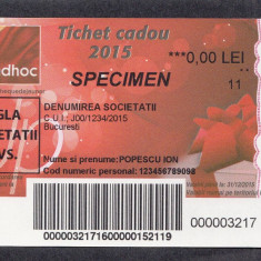 Bon Tichet cadou SPECIMEN 2015 UNC