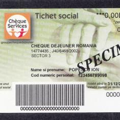 Bon Tichet social SPECIMEN Cheque dejeuner UNC