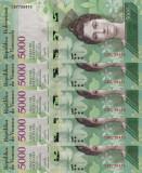 VENEZUELA lot 5 buc. X  5.000 bolivares 23 martie 2017 UNC!!!