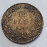 10 BANI 1867-CUPRU-MONETARIA WATT&CO-CAROL I DOMN