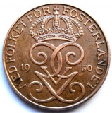 Suedia Gustaf  V (1907-1950) 5 Ore 1950 , DIAMETRU 27mm , VARIANTA DIN CUPRU !!!, Europa, Cupru (arama)
