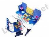 Birou pentru copii reglabil pe inaltime cu scaunel 71x 49 x 95 cm albastru