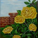 """Trandafiri galbeni"", Flori, Ulei, Realism"