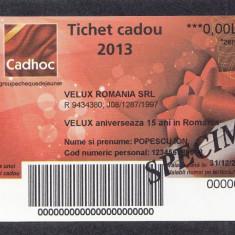 Bon Tichet cadou SPECIMEN Velux 2013 UNC