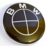 Emblema / Logo / Sigla BMW Cu 2 Pini - 74mm Neagra Pentru Seria 3, 5, 7