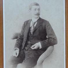 Fotografie pe carton gros ; Foto Duschek , Bucuresti , de secol 19 , mare
