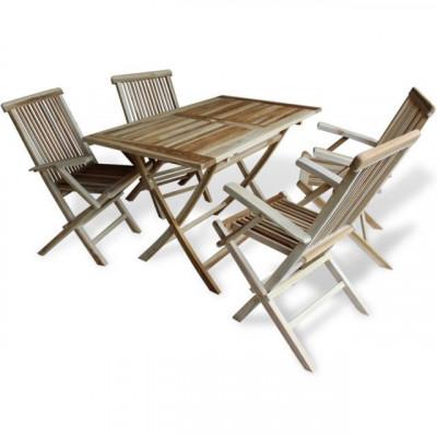 Set masa ?i scaune pentru exterior din lemn de tec 5 piese foto