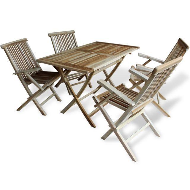 Set masa ?i scaune pentru exterior din lemn de tec 5 piese