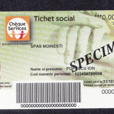 Bon Tichet social SPECIMEN Primaria Moinesti UNC