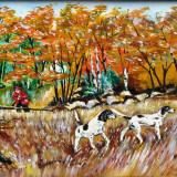 """Caini de vanatoare"", Natura, Ulei, Realism"