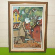 SCENA RURALA SCANDINAVA , pictura IN  ULEI  , semnata , scoala suedeza , tablou, Peisaje, Altul