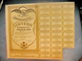 Actiuni vechi Romania-Imprumutul Intern-Titlu 1000 lei 1935. Stare foarte buna.