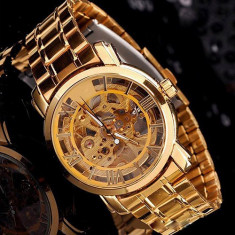 Ceas stil LUX casual semi automatic bratara metalica skeleton auriu gold