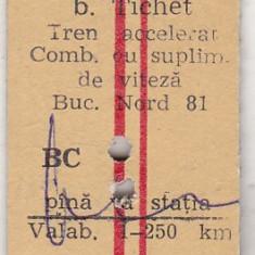 bnk  div CFR - tren - tichet tren accelerat comb cu supliment viteza cl 2 1981