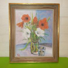 NATURA STATICA cu MACI , pictura IN  ULEI  , semnata , inramata , tablou