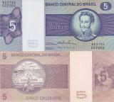 BRAZILIA 5 cruzeiros ND 1974 AUNC/AUNC+!!!