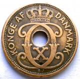 RARITATI , DANEMARCA , CHRISTIAN X , 2 ORE 1927 N; GJ  , VARIANTA RARA !!!, Europa, Cupru (arama)