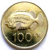 MOKAZIE , ISLANDA , 100 KRONUR 1995 , PESTE Lumpfish (Cyclopterus lumpus). 26mm., Europa