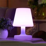 Veioza LED iluminata integral RGBW, telecomanda, 4 moduri iluminare, 25 cm