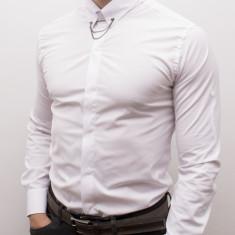 Camasa alba cu accesoriu - camasa nunta camasa slim fit camasa ocazie cod 176, L, M, S, XL, XXL, Maneca lunga, Din imagine