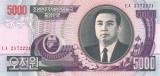 COREEA DE NORD █ bancnota █ 5000 Won █ 2006 █ P-46b █ UNC █ necirculata
