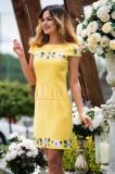 Rochie MBG eleganta galbena cu broderie florala
