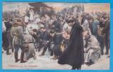 CARTE POSTALA DIN WW1 - DESENE CU SCENE DE LUPTA - RUGACIUNE INAINTE DE LUPTA, Circulata, Printata, Austria