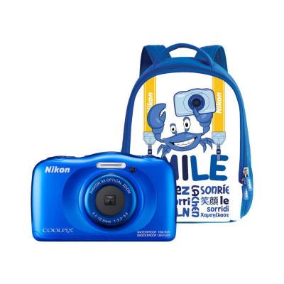 Aparat foto compact Nikon Coolpix W100 13.2 Mpx zoom optic 3x subacvatic Backpack Kit Blue foto
