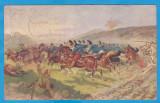 CARTE POSTALA DIN WW1 - DESENE CU SCENE DE LUPTA, Circulata, Printata, Austria