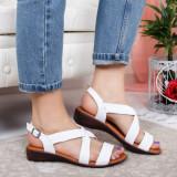 Sandale Adomila albe cu talpa joasa