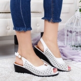 Sandale Vanala albe cu platforma