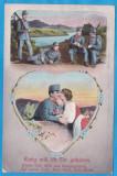 CARTE POSTALA DIN WW1 - TEMA ROMANTICA, Circulata, Printata, Austria