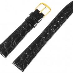 Curea ceas din piele naturala 19 mm latime - neagra