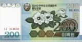 COREEA DE NORD █ bancnota █ 200 Won █ 2005 █ P-48 █ UNC █ necirculata