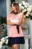 Rochie eleganta din tripluvoal lasata pe umeri