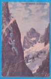 CARTE POSTALA DIN WW1 - DESENE CU SCENE DE LUPTA - TRECEREA MUNTILOR DOLOMITI, Circulata, Printata, Austria