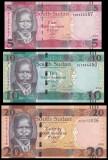 SUDAN DE SUD █ SET █ 5 + 10 + 20 Pounds █ 2015 █ P-11-12-13 █ UNC █ necirculata