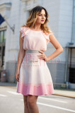 Bluza eleganta din voal roz-piersicuta
