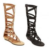 Sandale gladiator cu talpa joasa, din piele ecologica, 38, Maro