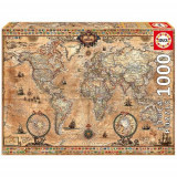 Puzzle Antique World Map 1000 Piese - VV25769, Educa