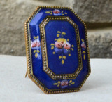 Brosa veche Guilloche Cloisonne Email de provenienta Cehoslovaca Art Deco, Icoana
