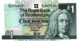 SCOTLAND █ bancnota █ 1 Pound █ 1999 █ P-351d █ ROYAL BANK OF SCOTLAND █ UNC
