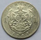1 Leu 1901  Argint, Romania  -VF, mai rara!