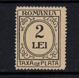 ROMANIA 1920 - TAXA DE PLATA 2 LEI CU EROARE DANTELURA 13,5  -  MNH, Nestampilat