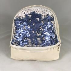 Rucsac alb cu bleu cu paiete+CADOU