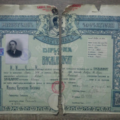 "Diploma de bacalaureat/ Leon Sarateanu, Liceul de Baieti ,,Libros"""