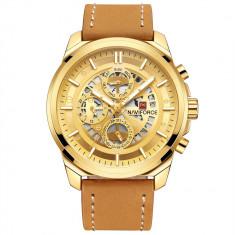 Ceas Naviforce Gold, mecanism Quartz, rezistent la apa 3ATM, curea din piele maro, stil Fashion + cutie cadou