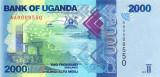 UGANDA █ bancnota █ 2000 Shillings █ 2010 █ P-50 █ AA0009600- █ UNC necirculata